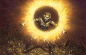 Exalted Third Edition (EX3) - Solar Anima Banner by leeoconnor