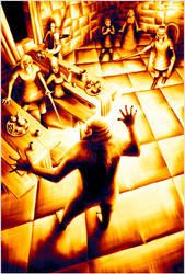 Grendel attacks Heorot by Crooty
