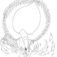 Ho-oh Used Fireblast - Lineart by FieryWithin