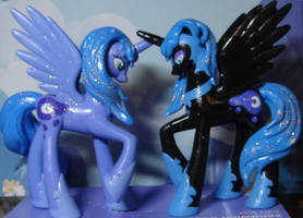 Nightmare Moon vs PrincessLuna by stripeybelly