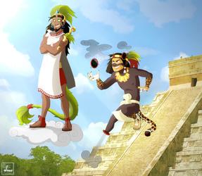 Quetzalcoatl and Tezcatlipoca by Chrissyissypoo19