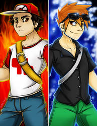 Red and Blue Bookmarks by 13OukaMocha13