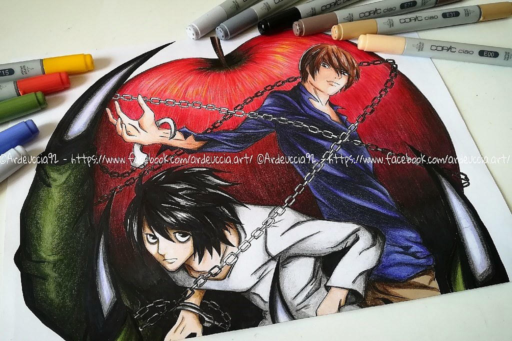 L and Kira - Death Note by Ardeuccia92