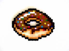 Perler Bead Chocolate Glazed Dount with Sprinkles by BrodoBagginz