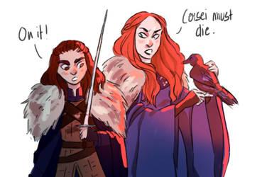 Sansa and Arya by Birdy0Fly