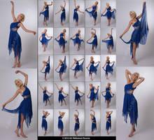 Stock:  Kari 25 elegant dance poses in blue dress by ArtReferenceSource