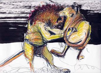 Lioness attack by Ewlor
