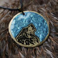 Ocean Moonbound Wolf pendant by Dark-Lioncourt