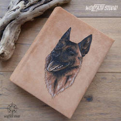 Malinois handmade leather photo album by Dark-Lioncourt