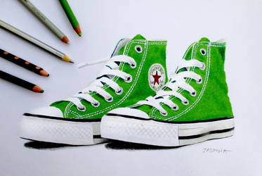 Green sneakers in colored pencil by JasminaSusak