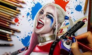 Harley Quinn Colored Pencil Drawing by JasminaSusak