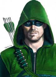 Colored Pencil  Green Arrow Stephen Amell by JasminaSusak