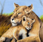 Colored pencil drawing: Lioness and Lion Cub by JasminaSusak