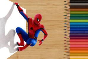 Colored pencil drawing of Spider-Man by JasminaSusak
