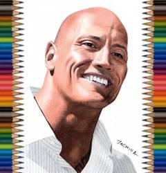 Colored pencil drawing of The Rock by JasminaSusak