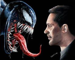 Colored pencil drawing: Venom and Tom Hardy by JasminaSusak