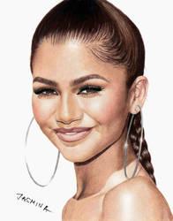 Colored pencil drawing of Zendaya by JasminaSusak