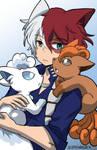 Todoroki and Vulpix by senchansart