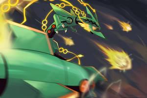 Mega Rayquaza - Draco meteor by nganlamsong