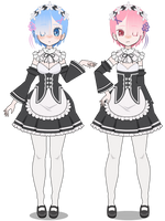 Kisekae: Rem And Ram [+EXPORTS] by cragy-paste