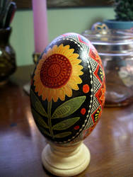 Sunflower Pysanka by BlueMajorelle