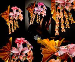 Peacock and Sakura Origami Pin by xxpo0k13x