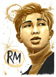 BTS RM Coffee Painting by Vixtronic