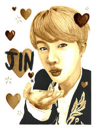 BTS Jin Coffee Painting by Vixtronic