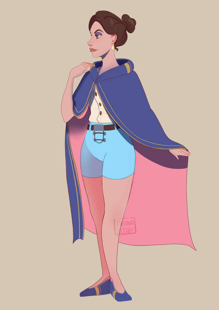 Woman with a blue cape by Upnova