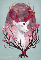 White Stag with Magnolias by Jadiekins