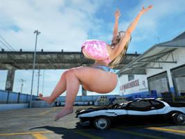 Junkyard Girls - Car butt crush preview by RedFireD0g