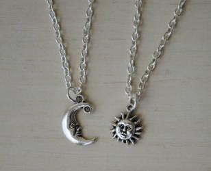 Sun and Moon Neckace Set by ClayRunway
