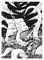 Inktober Day 19 - Deep Beneath The Raging Sea by Raven-HD-Maverick