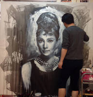 Audrey Hepburn Breakfast at tiffany painting WIP 3 by michaelandrewlaw