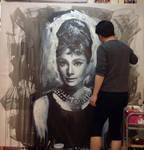 Audrey Hepburn Breakfast at tiffany painting WIP 3 by michaelandrewlaw