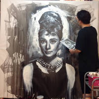 Audrey Hepburn Breakfast at tiffany painting WIP 2 by michaelandrewlaw