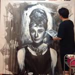 Audrey Hepburn Breakfast at tiffany painting WIP 2 by michaelandrewlaw