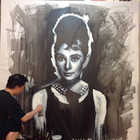 Audrey Hepburn Breakfast at tiffany painting WIP by michaelandrewlaw