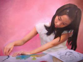 Sammi Oil On Canvas by michaelandrewlaw