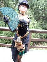 Steampunk Outfit with Fan by Scarie-Farie
