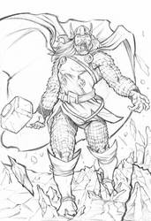 Thor Illustration Lineart by xavor85