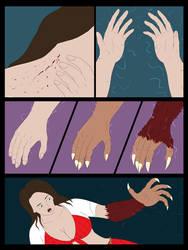 Woman into Werewolf Comic TF by whiteguardian
