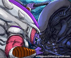Frieza vs Alien by whiteguardian