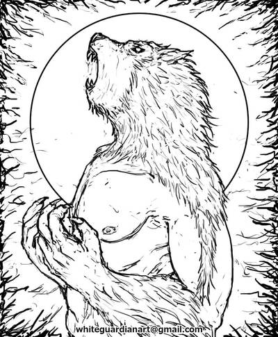 Howling in the full moon night Sketch by whiteguardian
