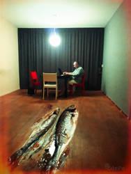 self artoportrait with fish by BobRock99