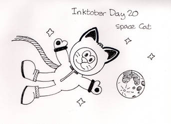 Inktober Day 20 - Space Cat by WendyW