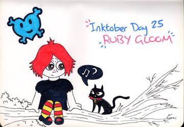 Inktober Day 25 - Ruby Gloom (and Doom Kitty) by WendyW