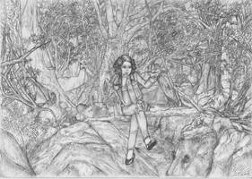 Girl in the forest by Windvern