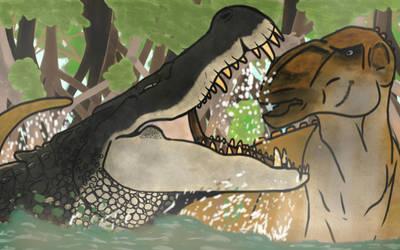deinosuchus : a dinosaur hunter  by luginsculpture47
