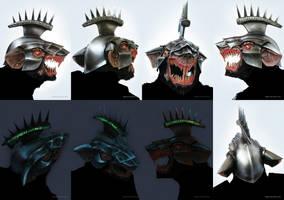 Stormvermin mask with luminous helmet, skaven. by DenisPolyakov